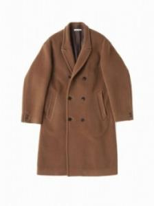 BEAVER CLOTH DOUBLE BREASTED COAT/SIENNA